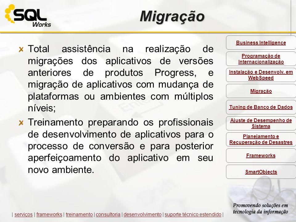 Migração Total assistência na realização de migrações dos aplicativos de versões anteriores de produtos Progress, e migração de aplicativos com mudanç