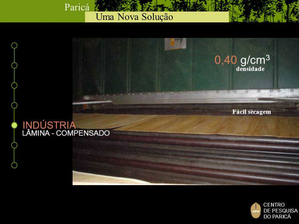 Uma Nova Solução Paricá CENTRO DE PESQUISA DO PARICÁ LÂMINA - COMPENSADO Fácil secagem densidade 0,40 g/cm 3 INDÚSTRIA