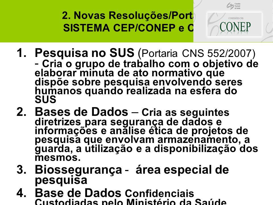 2. Novas Resoluções/Portaria SISTEMA CEP/CONEP e CNS 1.Pesquisa no SUS ( Portaria CNS 552/2007) - Cria o grupo de trabalho com o objetivo de elaborar