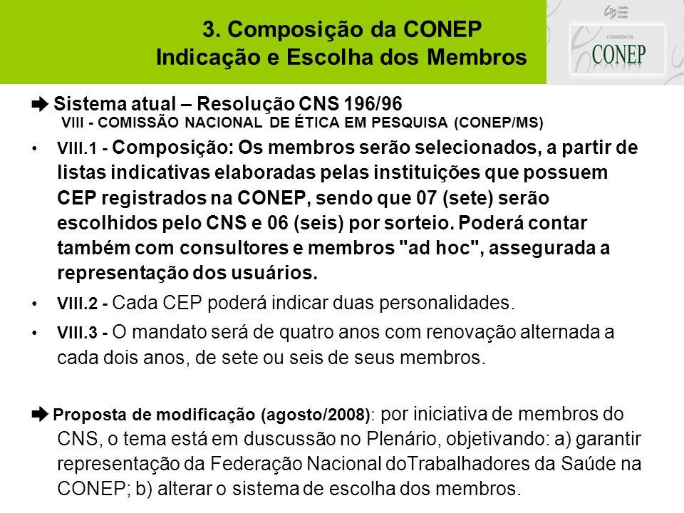 3. Composição da CONEP Indicação e Escolha dos Membros ➨ Sistema atual – Resolução CNS 196/96 VIII - COMISSÃO NACIONAL DE ÉTICA EM PESQUISA (CONEP/MS)
