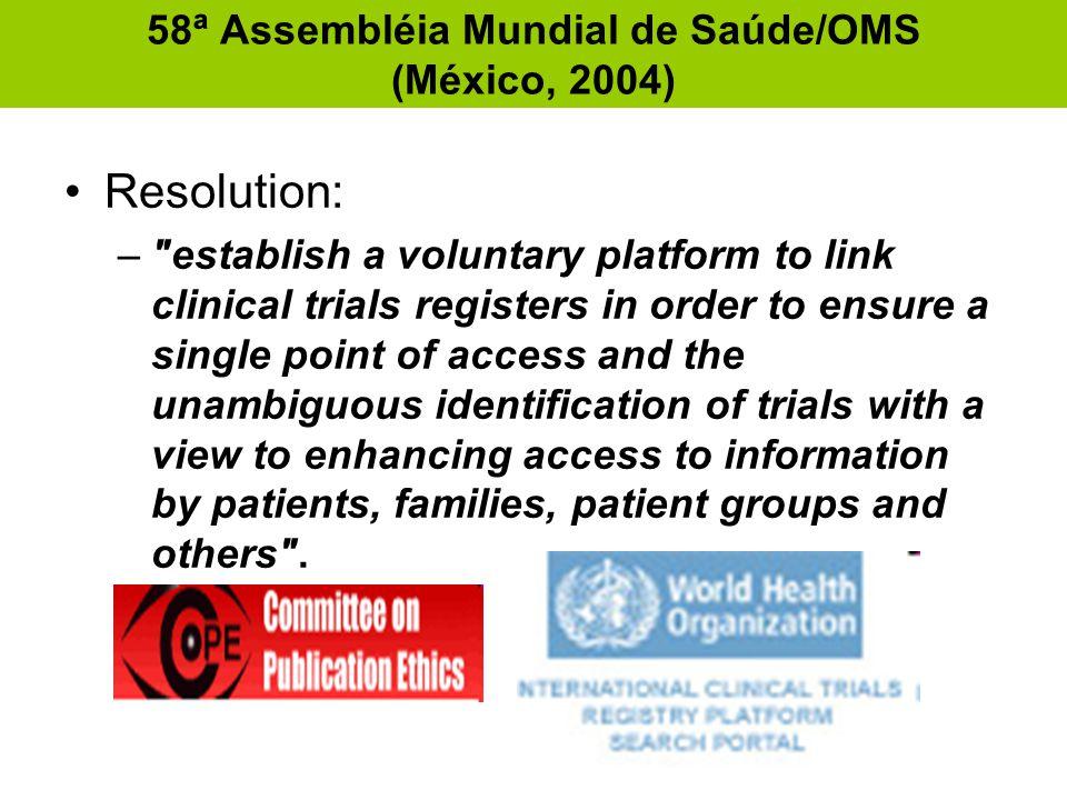 58ª Assembléia Mundial de Saúde/OMS (México, 2004) •Resolution: –