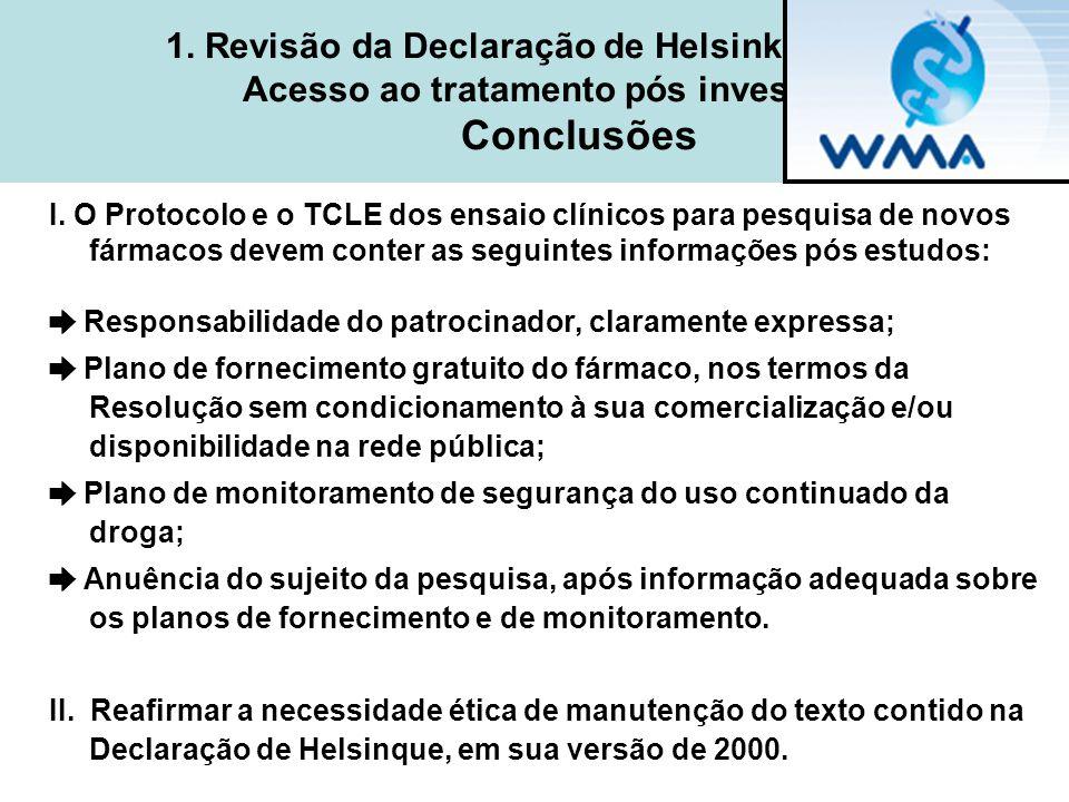 1. Revisão da Declaração de Helsinki - 2008 Acesso ao tratamento pós investigação Conclusões I. O Protocolo e o TCLE dos ensaio clínicos para pesquisa
