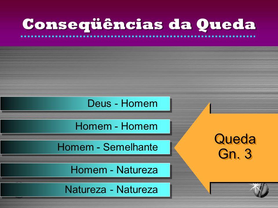 Conseqüências da Queda Deus - Homem Homem - Homem Homem - Semelhante Homem - Natureza Natureza - Natureza Queda Gn. 3 Queda Gn. 3