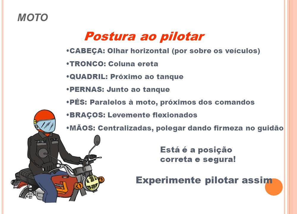 MOTO Postura ao pilotar Postura ERRADA (riscos de queda) Postura CORRETA