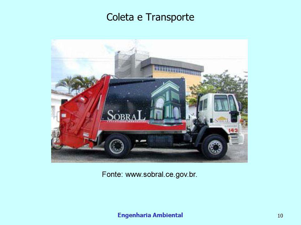 Engenharia Ambiental 11 Coleta e transporte  Os resíduos recicláveis podem ainda ser coletados em Pontos de Entrega Voluntária (PEV's).