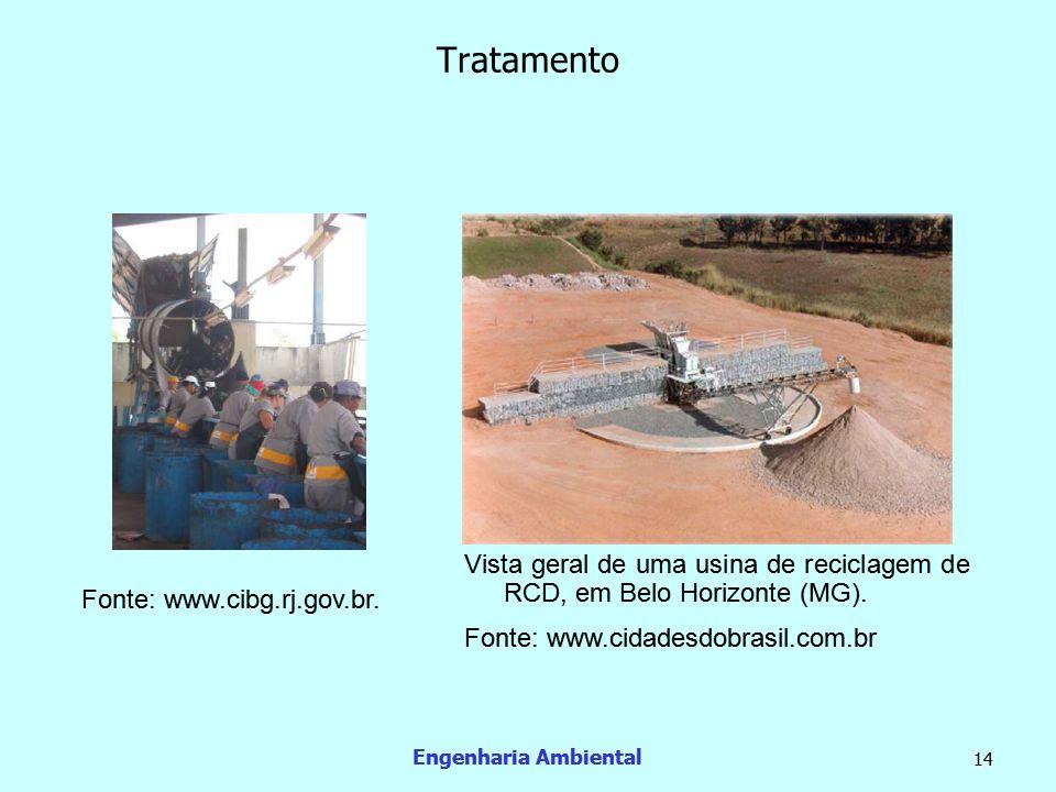 Engenharia Ambiental 14 Tratamento Fonte: www.cibg.rj.gov.br. Vista geral de uma usina de reciclagem de RCD, em Belo Horizonte (MG). Fonte: www.cidade