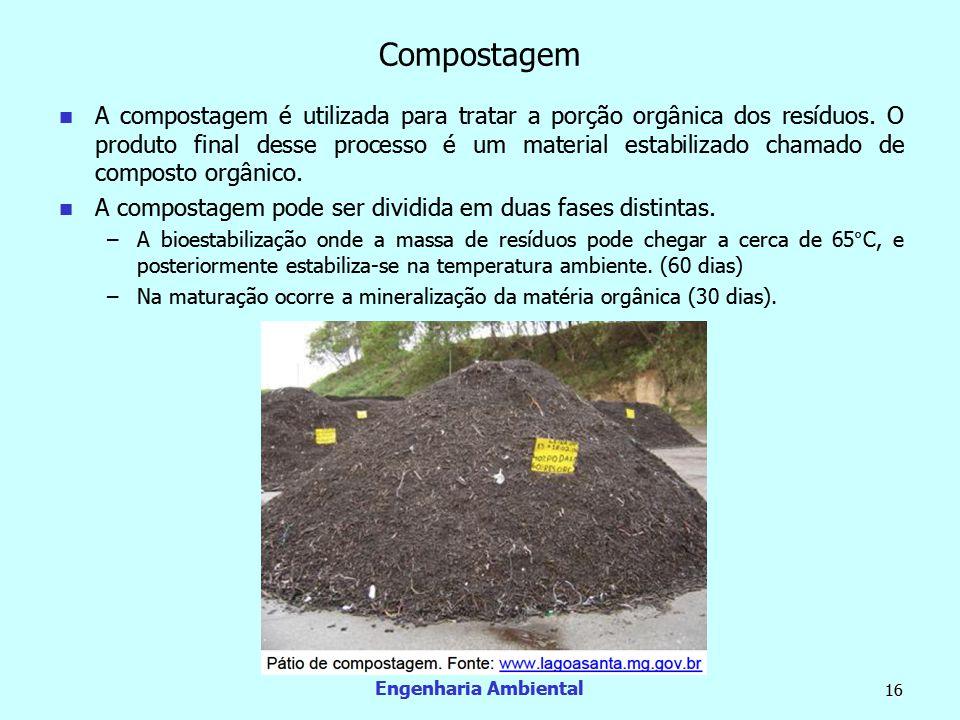 Engenharia Ambiental 16 Compostagem  A compostagem é utilizada para tratar a porção orgânica dos resíduos. O produto final desse processo é um materi