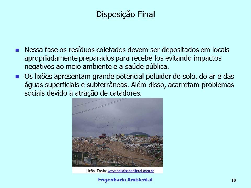 Engenharia Ambiental 18 Disposição Final  Nessa fase os resíduos coletados devem ser depositados em locais apropriadamente preparados para recebê-los