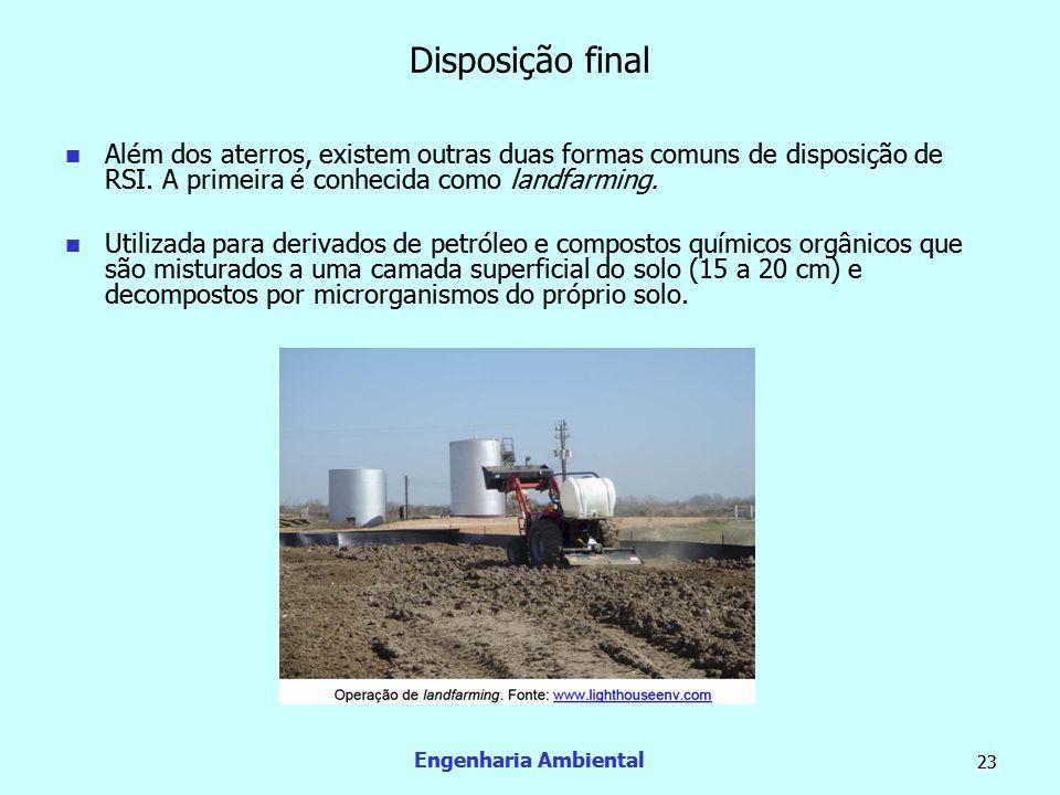 Engenharia Ambiental 23 Disposição final  Além dos aterros, existem outras duas formas comuns de disposição de RSI. A primeira é conhecida como landf