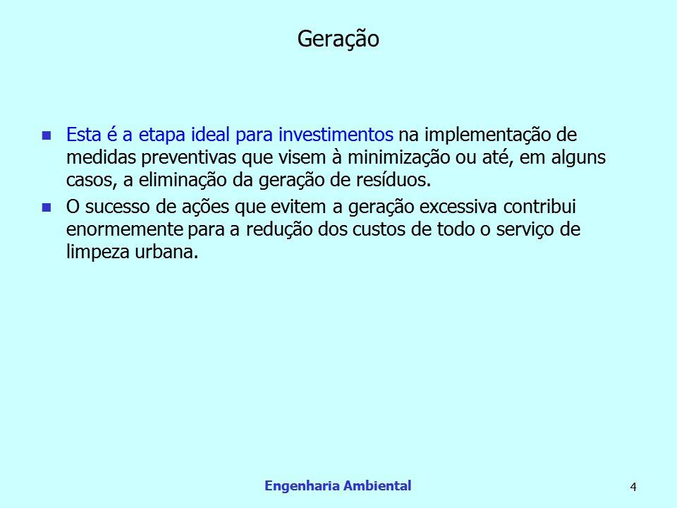 Engenharia Ambiental 4 Geração  Esta é a etapa ideal para investimentos na implementação de medidas preventivas que visem à minimização ou até, em al