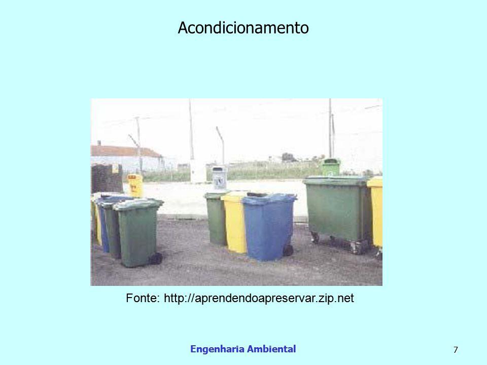 Engenharia Ambiental 8 Coleta e transporte  Após as etapas de geração e acondicionamento os resíduos sólidos devem ser coletados e transportados até uma estação de transferência, um local onde passará por um tratamento ou a uma área de disposição final.