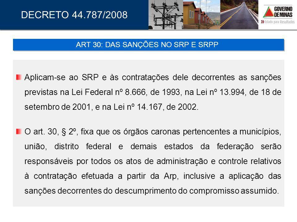 Aplicam-se ao SRP e às contratações dele decorrentes as sanções previstas na Lei Federal nº 8.666, de 1993, na Lei nº 13.994, de 18 de setembro de 200