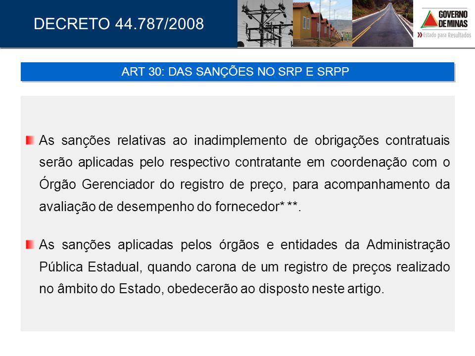 As sanções relativas ao inadimplemento de obrigações contratuais serão aplicadas pelo respectivo contratante em coordenação com o Órgão Gerenciador do