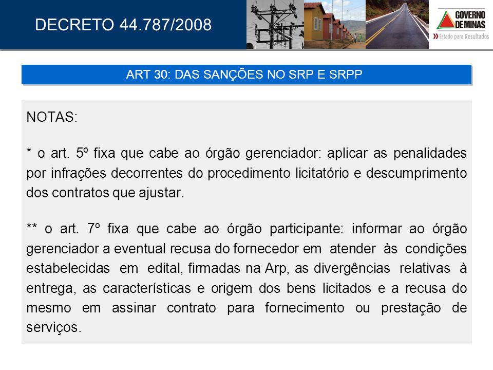 NOTAS: * o art. 5º fixa que cabe ao órgão gerenciador: aplicar as penalidades por infrações decorrentes do procedimento licitatório e descumprimento d