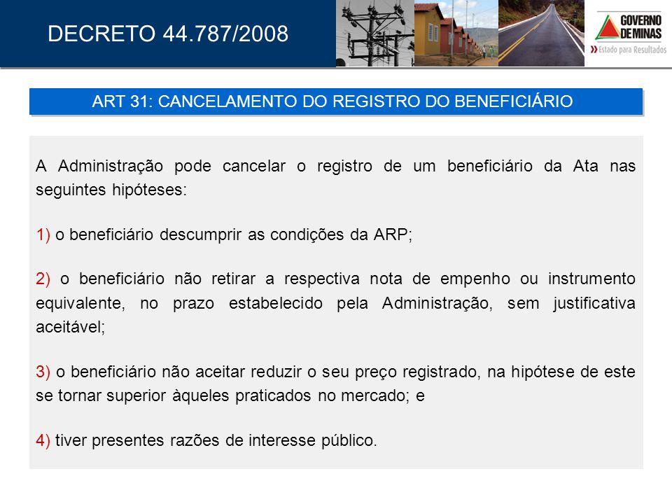 A Administração pode cancelar o registro de um beneficiário da Ata nas seguintes hipóteses: 1) o beneficiário descumprir as condições da ARP; 2) o ben
