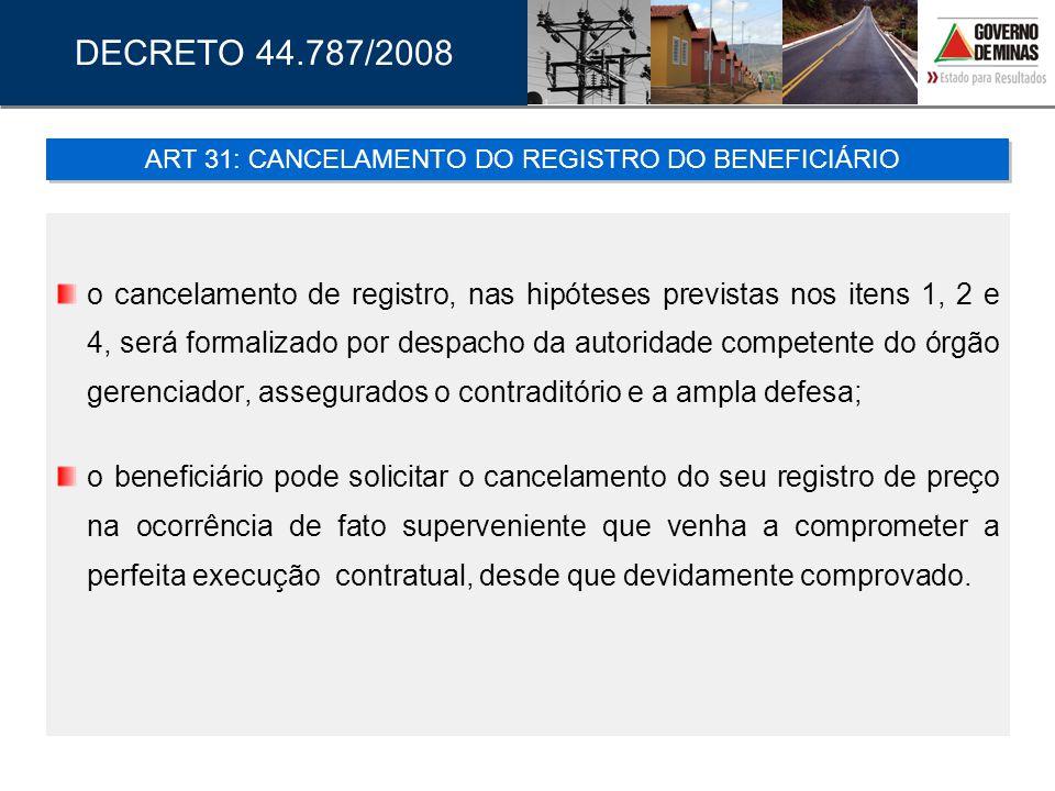o cancelamento de registro, nas hipóteses previstas nos itens 1, 2 e 4, será formalizado por despacho da autoridade competente do órgão gerenciador, a
