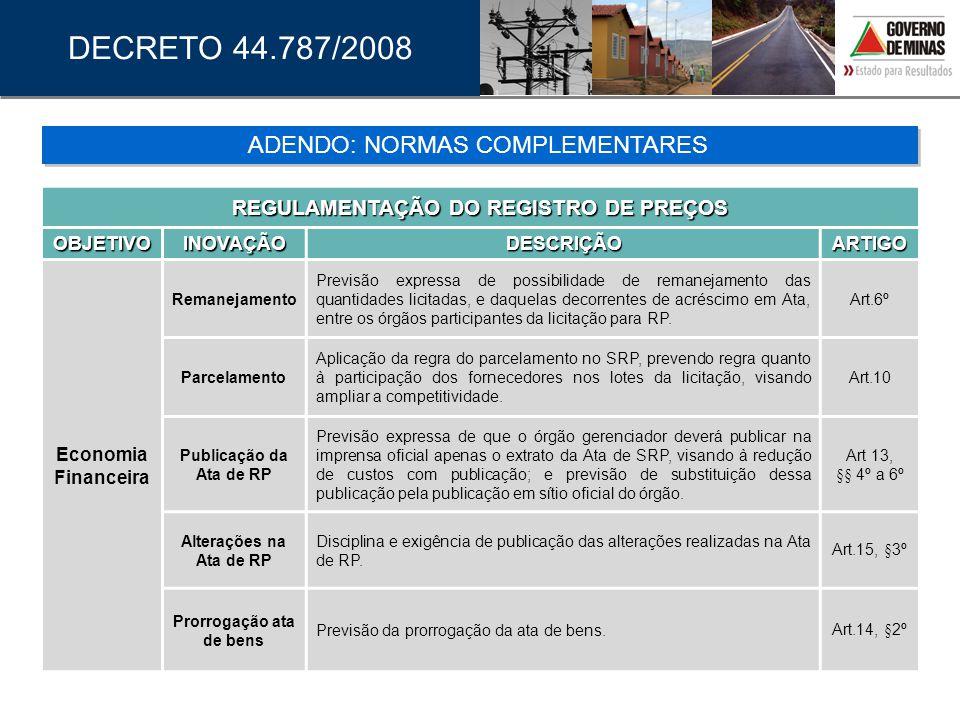 DECRETO 44.787/2008 REGULAMENTAÇÃO DO REGISTRO DE PREÇOS OBJETIVOINOVAÇÃODESCRIÇÃOARTIGO Economia Financeira Remanejamento Previsão expressa de possib