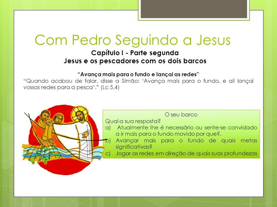 """Com Pedro Seguindo a Jesus Capítulo I - Parte segunda Jesus e os pescadores com os dois barcos """"Avança mais para o fundo e lançai as redes"""" """"Quando ac"""