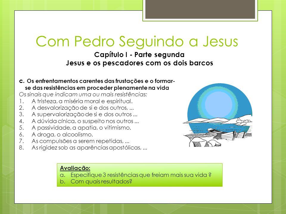 Com Pedro Seguindo a Jesus Capítulo I - Parte segunda Jesus e os pescadores com os dois barcos c. Os enfrentamentos carentes das frustações e o formar