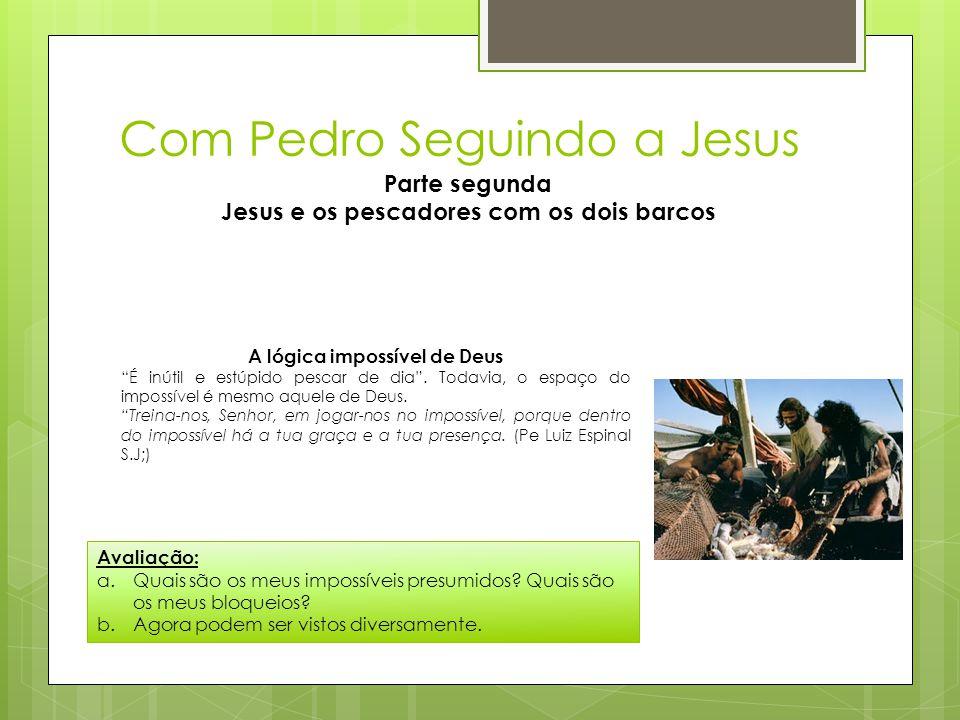 """Com Pedro Seguindo a Jesus Parte segunda Jesus e os pescadores com os dois barcos A lógica impossível de Deus """"É inútil e estúpido pescar de dia"""". Tod"""
