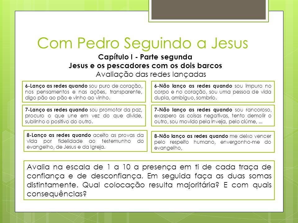 Com Pedro Seguindo a Jesus Capítulo I - Parte segunda Jesus e os pescadores com os dois barcos 6-Lanço as redes quando sou puro de coração, nos pensam