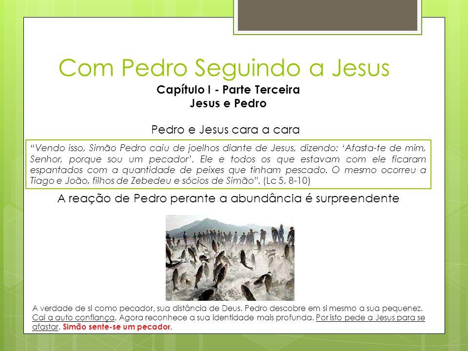 """Com Pedro Seguindo a Jesus Capítulo I - Parte Terceira Jesus e Pedro """"Vendo isso, Simão Pedro caiu de joelhos diante de Jesus, dizendo: 'Afasta-te de"""