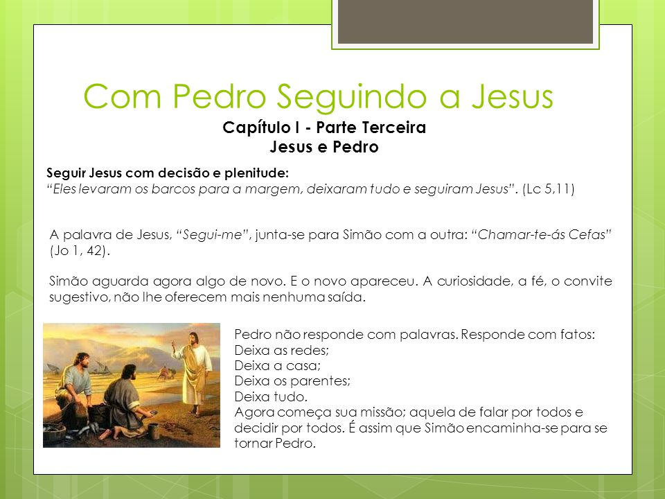 """Com Pedro Seguindo a Jesus Capítulo I - Parte Terceira Jesus e Pedro Seguir Jesus com decisão e plenitude: """"Eles levaram os barcos para a margem, deix"""