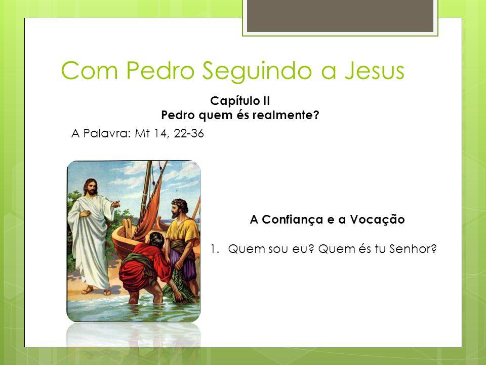Com Pedro Seguindo a Jesus A Palavra: Mt 14, 22-36 A Confiança e a Vocação 1.Quem sou eu? Quem és tu Senhor? Capítulo II Pedro quem és realmente?