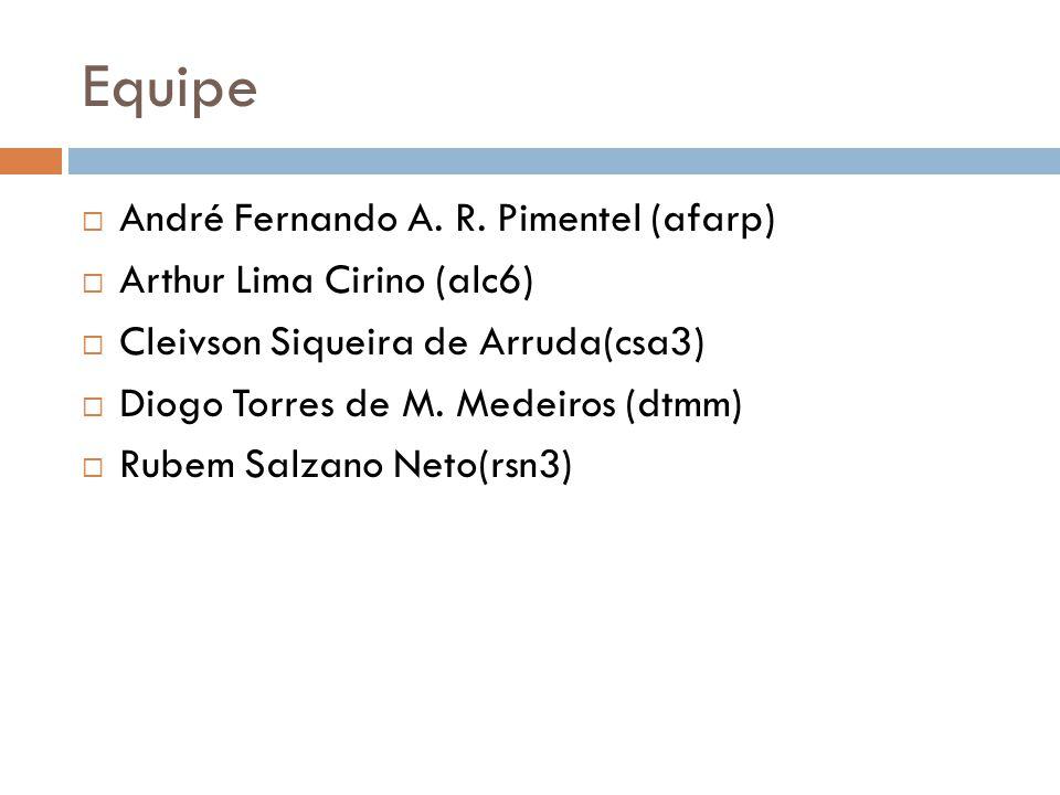 Equipe  André Fernando A. R. Pimentel (afarp)  Arthur Lima Cirino (alc6)  Cleivson Siqueira de Arruda(csa3)  Diogo Torres de M. Medeiros (dtmm) 