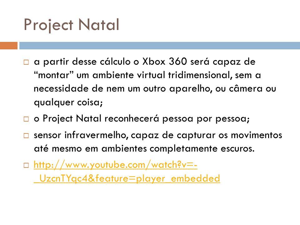 """Project Natal  a partir desse cálculo o Xbox 360 será capaz de """"montar"""" um ambiente virtual tridimensional, sem a necessidade de nem um outro aparelh"""