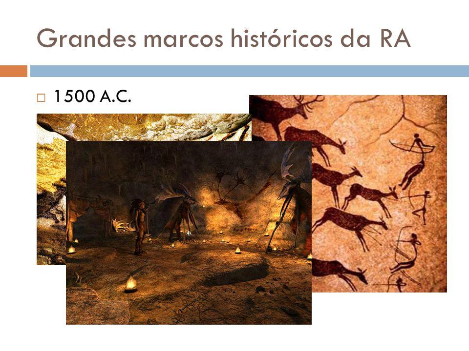 """ 1500 A.C.  Os desenhos em cavernas de Lascaux mostravam imagens """"virtuais"""" na escuridão da caverna, que iniciaram a ideia de aprimoramento do mundo"""