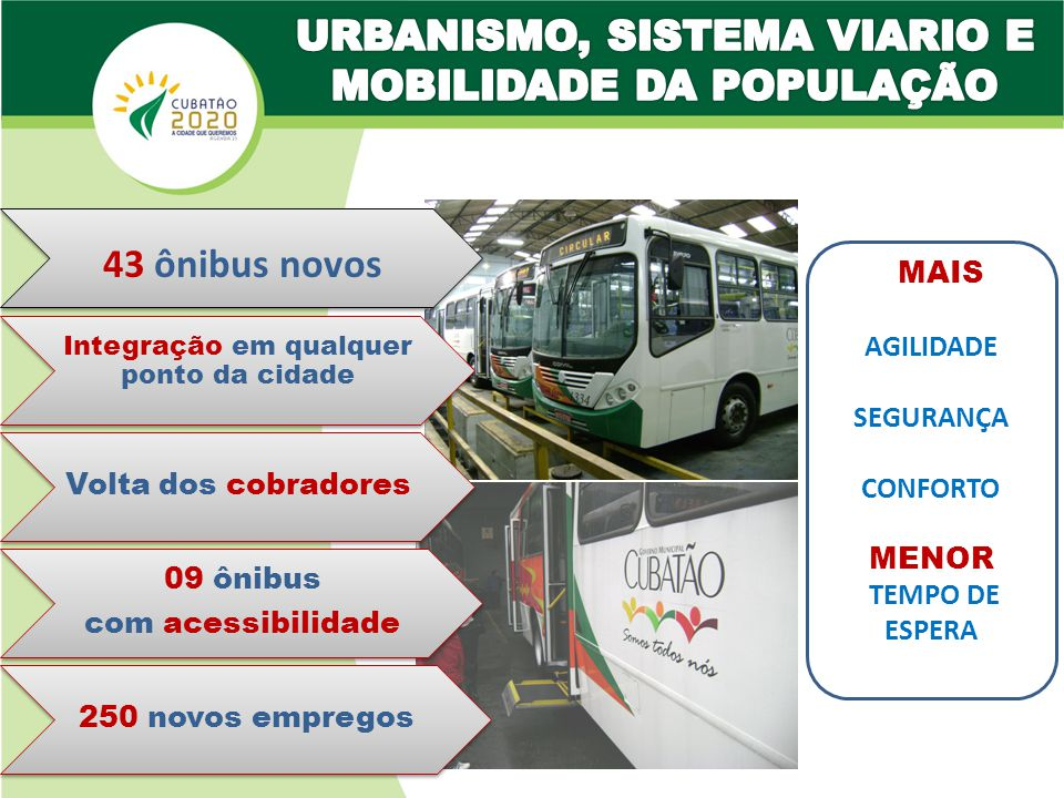 43 ônibus novos 09 ônibus com acessibilidade Integração em qualquer ponto da cidade Volta dos cobradores 250 novos empregos AGILIDADE SEGURANÇA CONFORTO MENOR TEMPO DE ESPERA MAIS