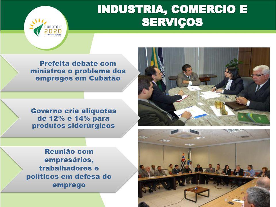 Reunião com empresários, trabalhadores e políticos em defesa do emprego Governo cria alíquotas de 12% e 14% para produtos siderúrgicos Prefeita debate com ministros o problema dos empregos em Cubatão