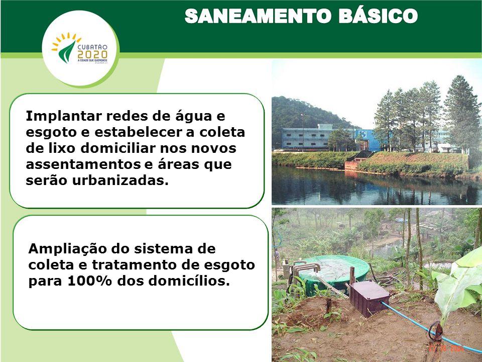 Implantar redes de água e esgoto e estabelecer a coleta de lixo domiciliar nos novos assentamentos e áreas que serão urbanizadas.