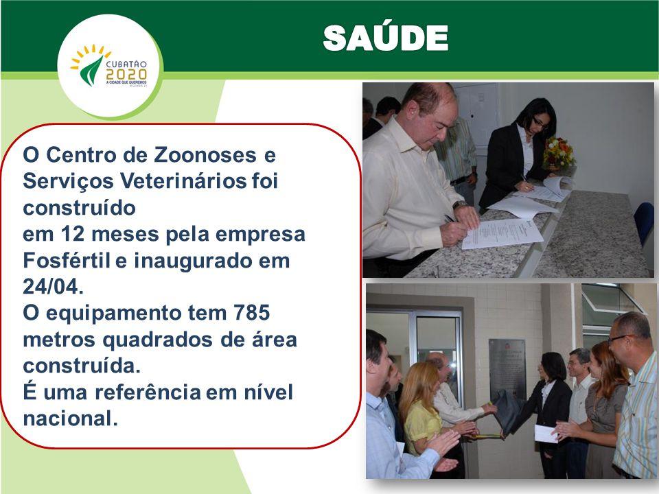 O Centro de Zoonoses e Serviços Veterinários foi construído em 12 meses pela empresa Fosfértil e inaugurado em 24/04.