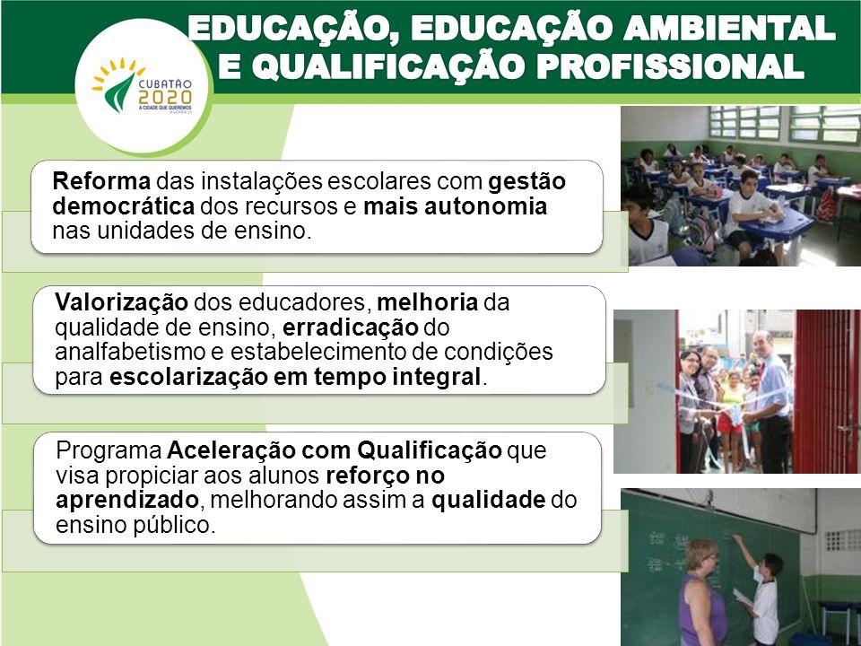 Reforma das instalações escolares com gestão democrática dos recursos e mais autonomia nas unidades de ensino.