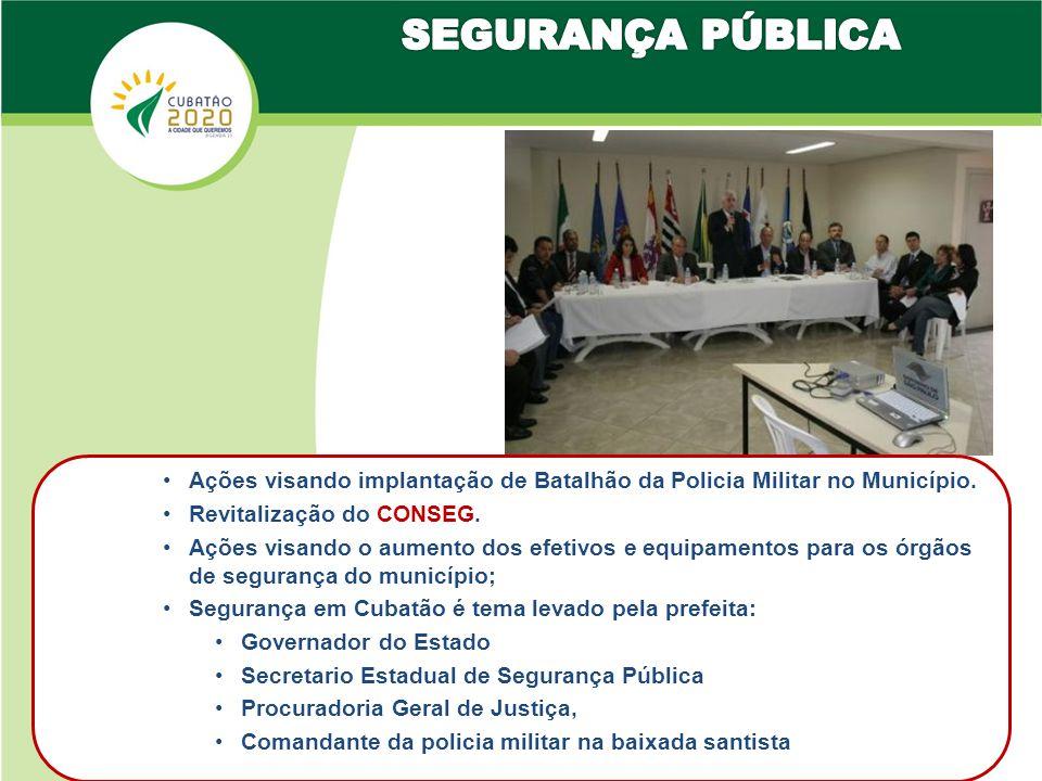 •Ações visando implantação de Batalhão da Policia Militar no Município.