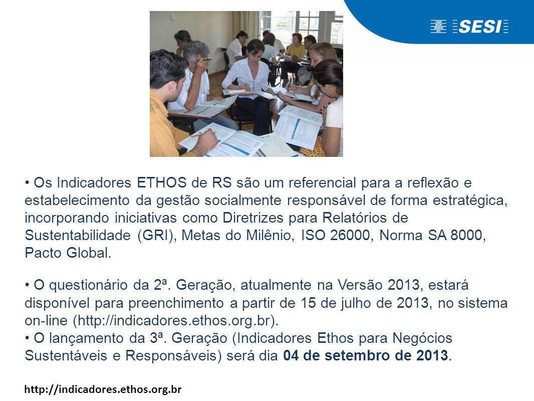 • Os Indicadores ETHOS de RS são um referencial para a reflexão e estabelecimento da gestão socialmente responsável de forma estratégica, incorporando