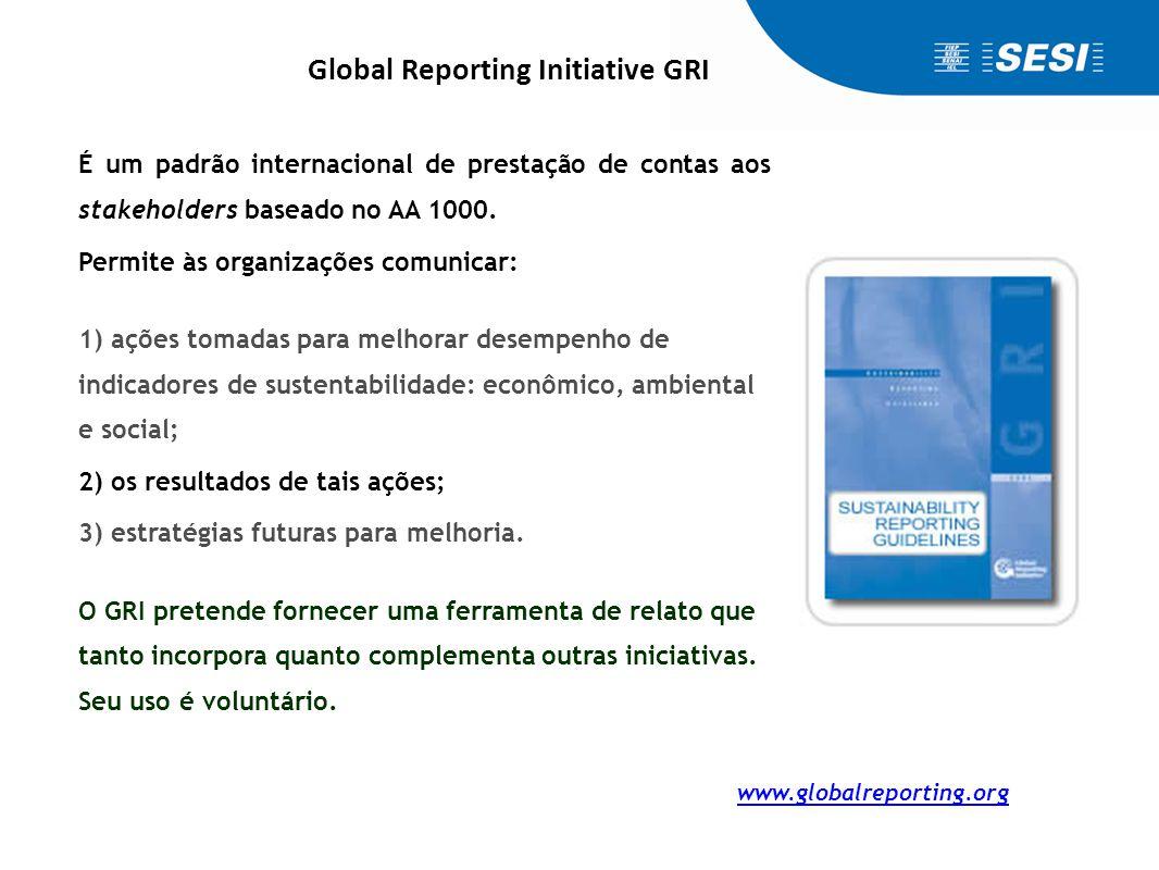 www.globalreporting.org É um padrão internacional de prestação de contas aos stakeholders baseado no AA 1000. Permite às organizações comunicar: 1) aç