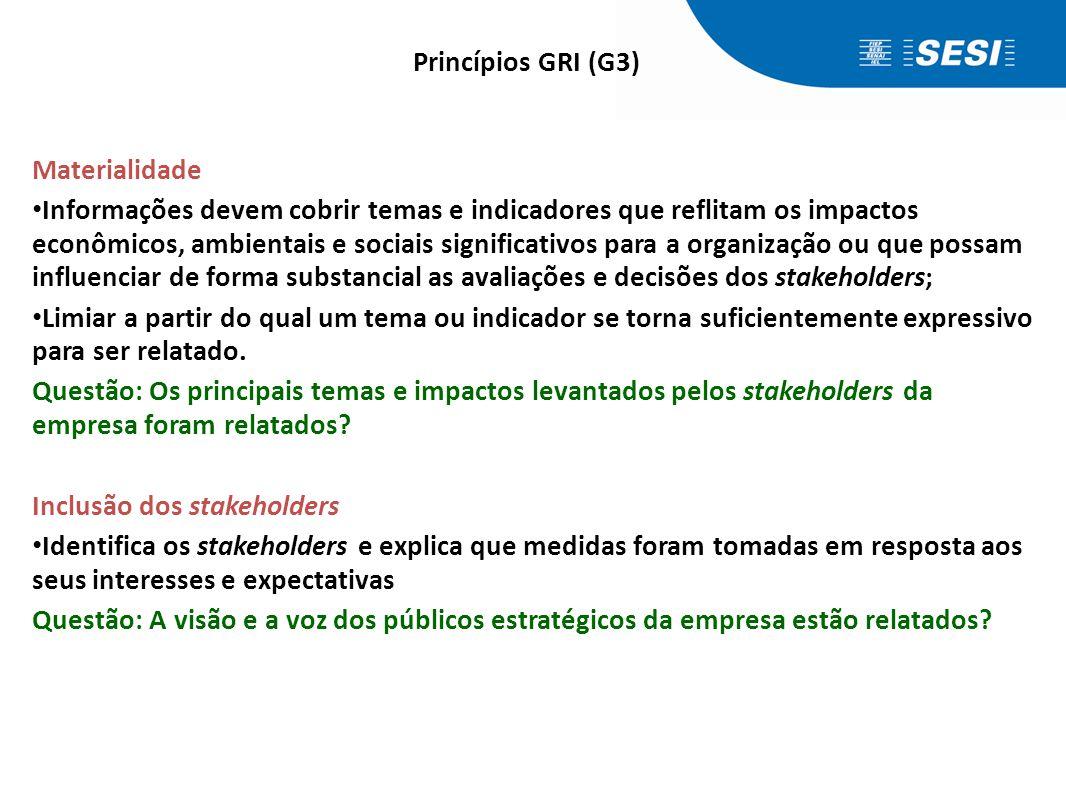 Materialidade • Informações devem cobrir temas e indicadores que reflitam os impactos econômicos, ambientais e sociais significativos para a organizaç