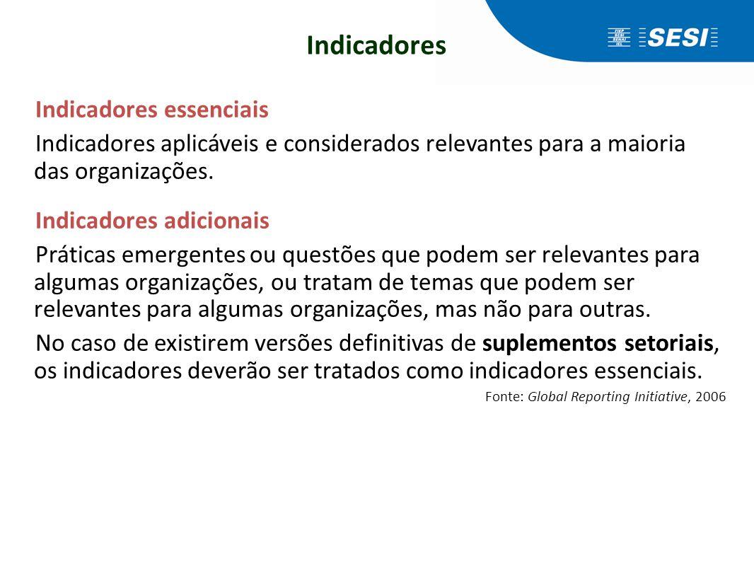 Indicadores Indicadores essenciais Indicadores aplicáveis e considerados relevantes para a maioria das organizações. Indicadores adicionais Práticas e