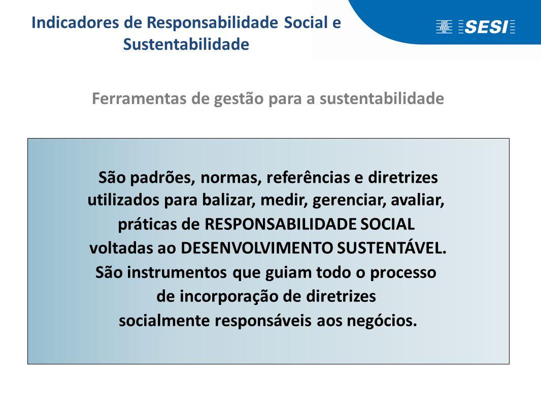 São padrões, normas, referências e diretrizes utilizados para balizar, medir, gerenciar, avaliar, práticas de RESPONSABILIDADE SOCIAL voltadas ao DESE