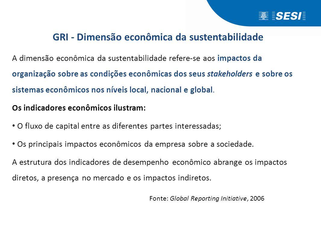 GRI - Dimensão econômica da sustentabilidade A dimensão econômica da sustentabilidade refere-se aos impactos da organização sobre as condições econômi