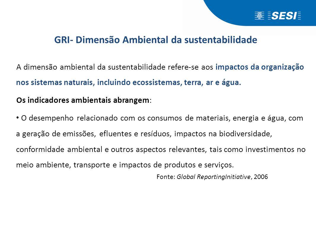 GRI- Dimensão Ambiental da sustentabilidade A dimensão ambiental da sustentabilidade refere-se aos impactos da organização nos sistemas naturais, incl