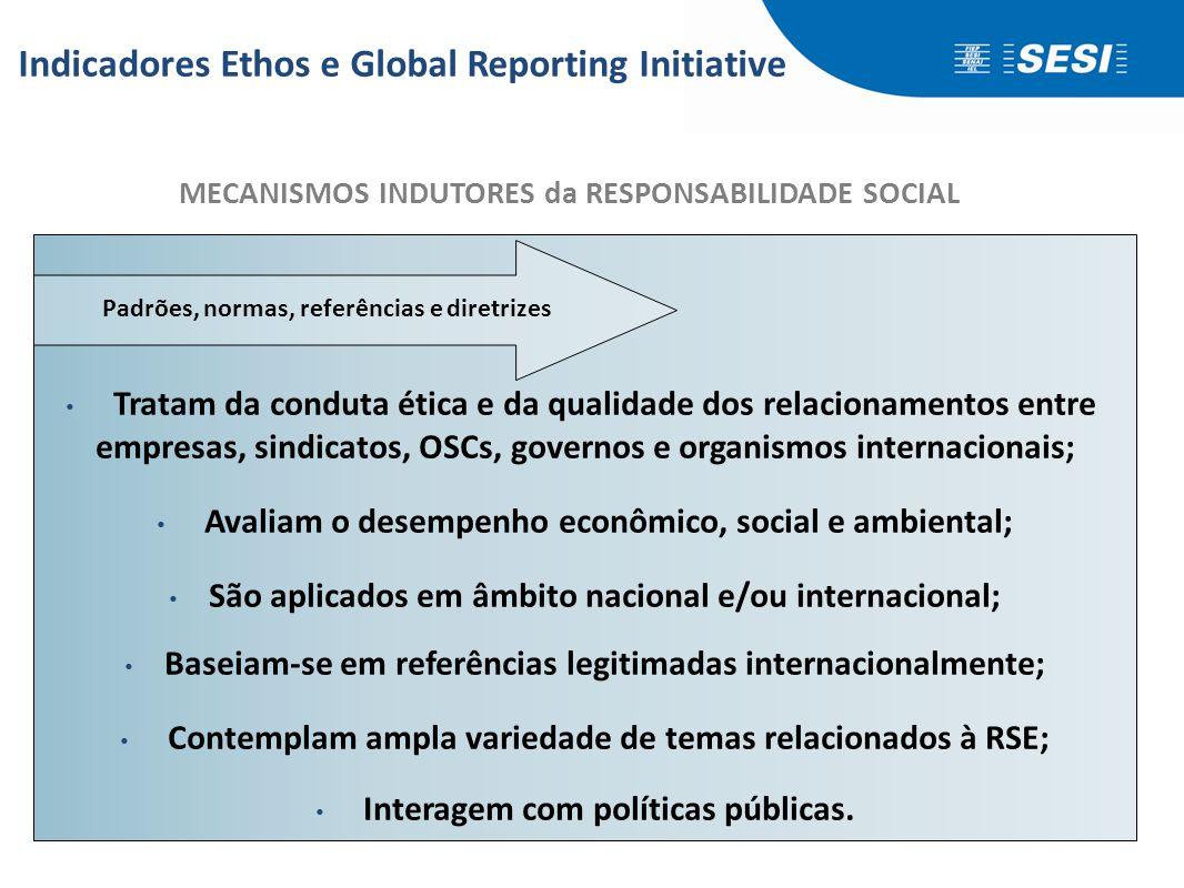 • Tratam da conduta ética e da qualidade dos relacionamentos entre empresas, sindicatos, OSCs, governos e organismos internacionais; • Avaliam o desem