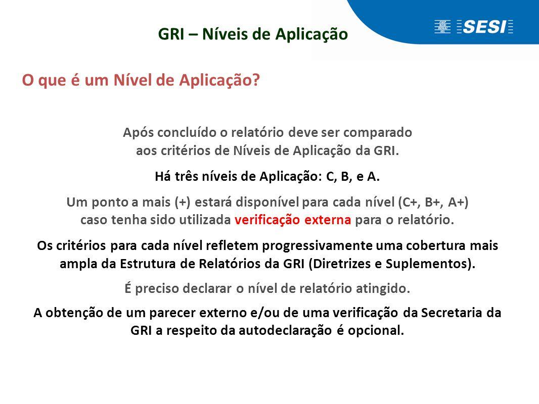 GRI – Níveis de Aplicação O que é um Nível de Aplicação? Após concluído o relatório deve ser comparado aos critérios de Níveis de Aplicação da GRI. Há