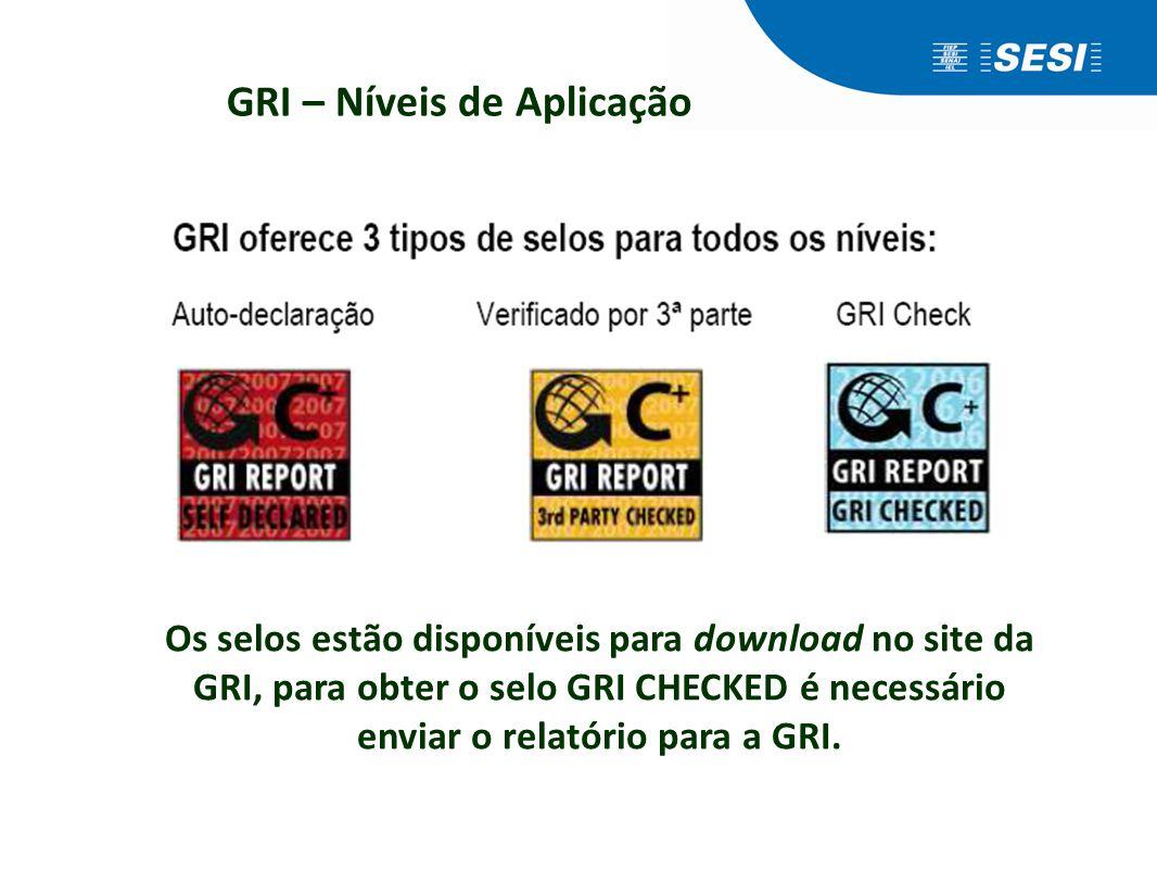 Os selos estão disponíveis para download no site da GRI, para obter o selo GRI CHECKED é necessário enviar o relatório para a GRI.