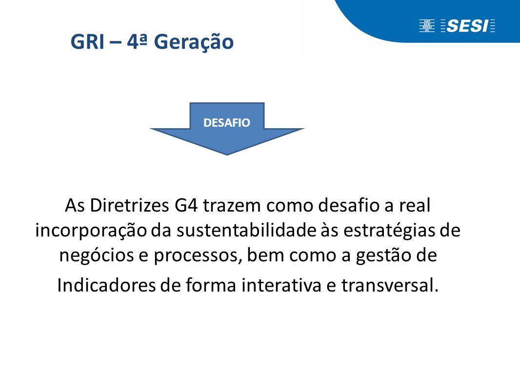 GRI – 4ª Geração As Diretrizes G4 trazem como desafio a real incorporação da sustentabilidade às estratégias de negócios e processos, bem como a gestã