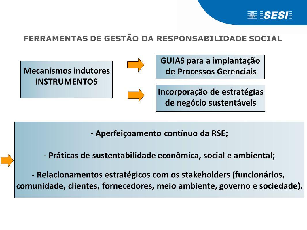 - Aperfeiçoamento contínuo da RSE; - Práticas de sustentabilidade econômica, social e ambiental; - Relacionamentos estratégicos com os stakeholders (f