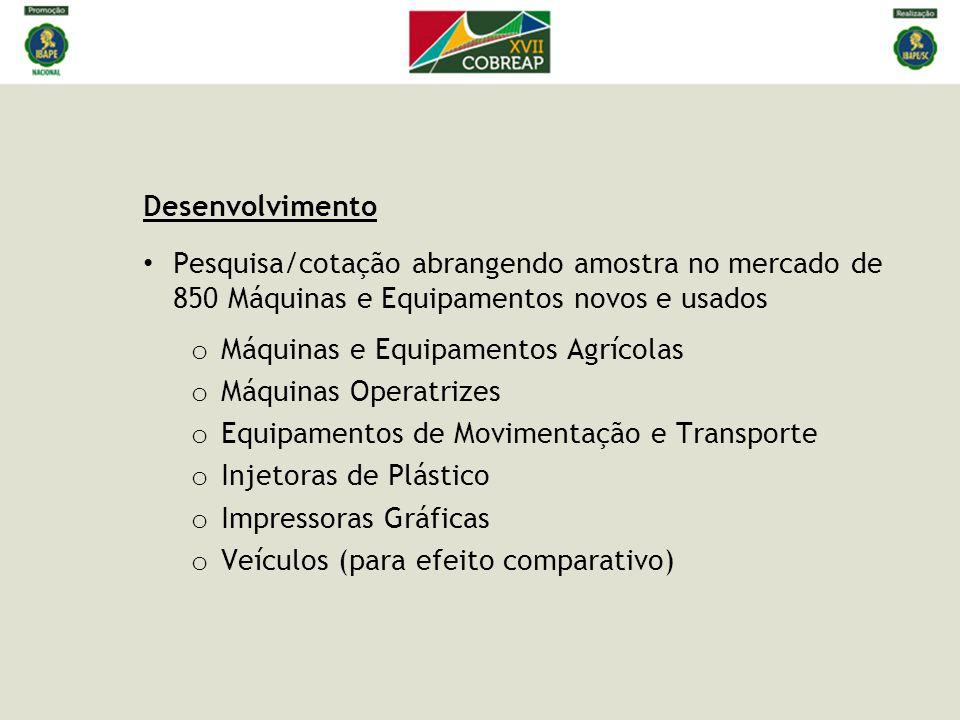 Desenvolvimento • Pesquisa/cotação abrangendo amostra no mercado de 850 Máquinas e Equipamentos novos e usados o Máquinas e Equipamentos Agrícolas o M
